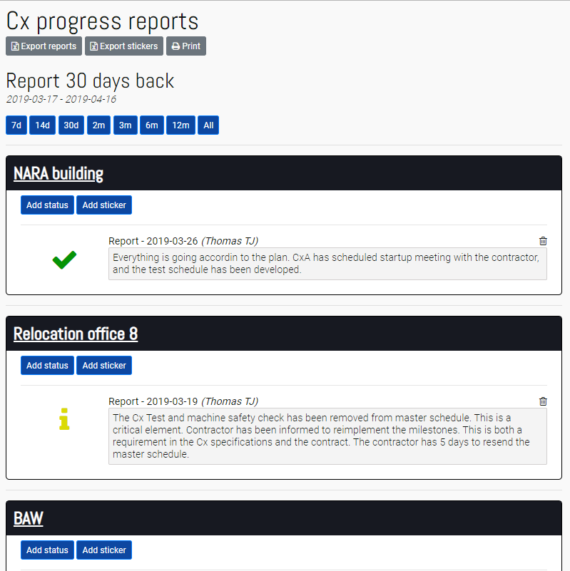 Cx Progress Reports