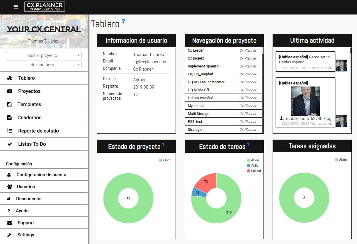 CxPlanner now support Spanish